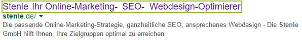 Anzeige des Title Tags in den Google-Suchergebnissen